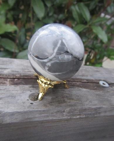 セール特価! 貝化石(オルソセラス) 丸玉(金属台座付)