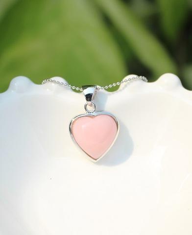 セール特価! ふんわりキュート! 宝石質 ピンクオパール ハート型ペンダント