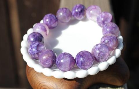 紫の神秘! エンジェルシリカ(虹入) 超大玉ブレスレット
