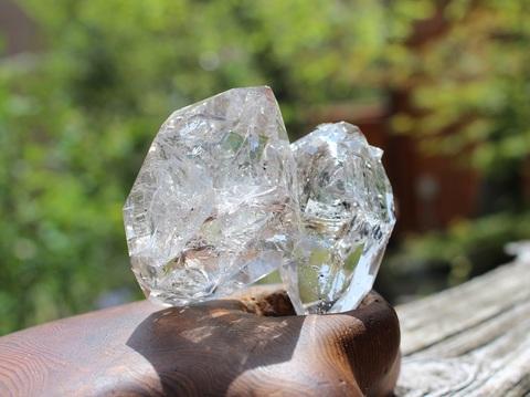 凄いテリ!  レインボー入り ハーキマーダイヤモンド 特大2ツイン原石