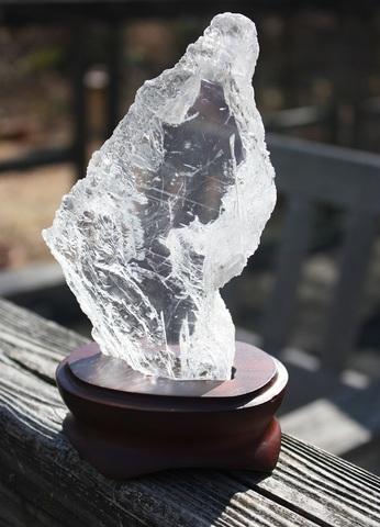 聖母マリアの硝子 天然ジプサム(透石膏)原石(台付)