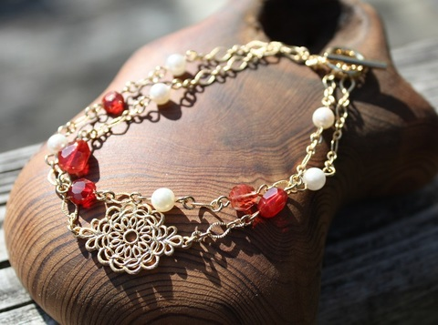 激レア! 宝石質チベットアンデシン&アコヤ本真珠 ブレスレット
