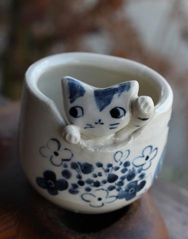 1点もの! 小さな猫カップA (左手招き)