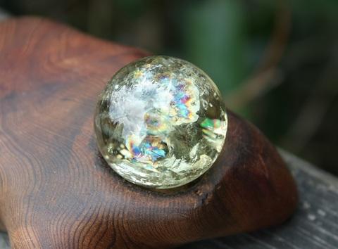 財運の石 虹いっぱい!天然シトリン 33ミリ丸玉
