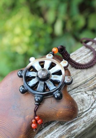 レア! チベット密教法器 法輪ペンダントネックレス