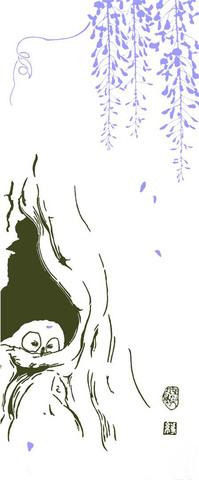 綿梟(注染手拭・フクロウ) Fleecy fledgeling Owl