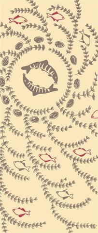 淡水曼荼羅 Fresh water Mandara beige(注染手拭:イタセンパラ・アユモドキ・イシガイ・マツモ Itasenpara Bitterling; Kissing loach; Freshwater unionoid mussel; Common hornwort)