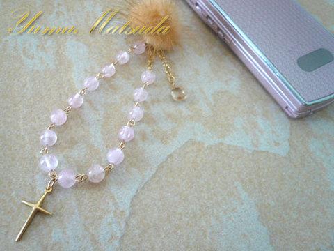 モルガナイト×宝石質シャンパンクオーツ「2WAYジュエリーブレス&携帯ストラップ」