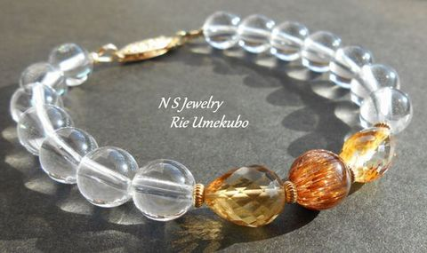 【NSJ】【オレンジキャッツアイルチル×宝石質シトリン☆金運ジュエリーブレス】