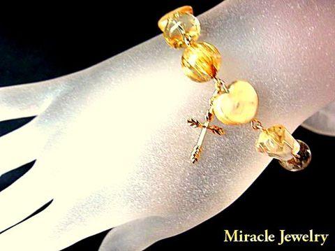 MJ代表作品 ルチル×シトリン&ハートパール「ミラクル金運ジュエリーブレス」