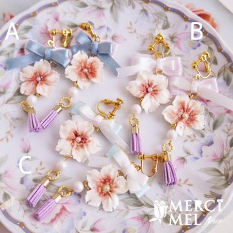 【sold out】Tassel brossom ribbonイヤリング