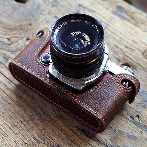 Olympus(オリンパス)OM1、2、3、4用 本革カメラケース(ダークブラウン )シボ革