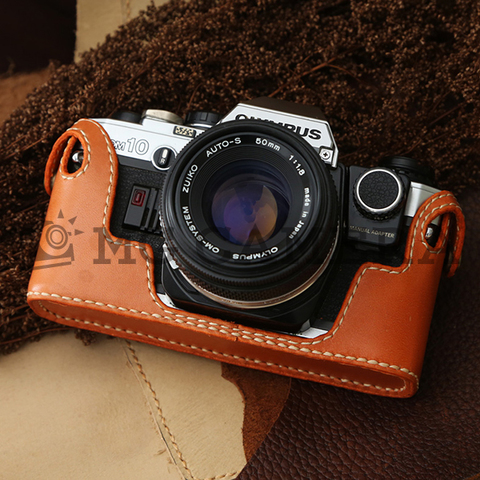 Olympus(オリンパス)OM10用 マニュアルアダプタ対応 本革カメラケース(ブラウン )