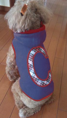 犬服 刺繍 ブルー フリースプルオーバー アルファベット わんちゃん服  xs s m l