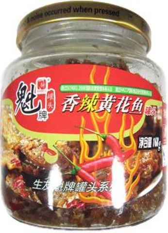 魁牌 香辣黄花鱼黄鱼罐头-イシモチのビリ辛缶詰 168g