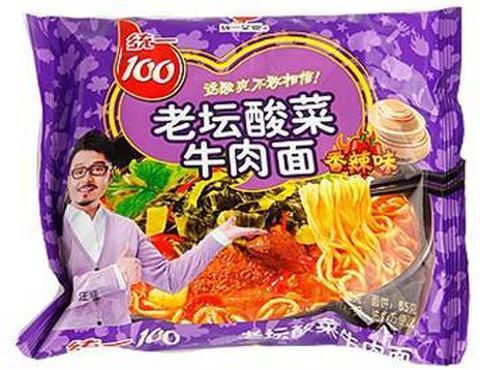 统一100老坛酸菜牛肉面 香辣味 方便面- インスタントラーメン 121g