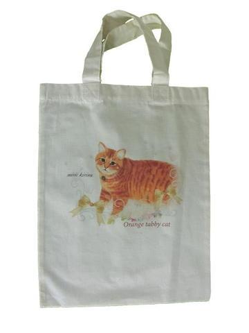みりいオリジナルバッグ(白・茶トラ猫)