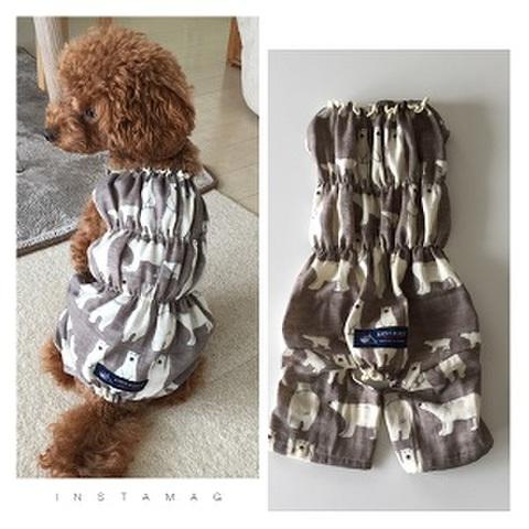犬服型紙 白くま柄のオールインワン dog-9
