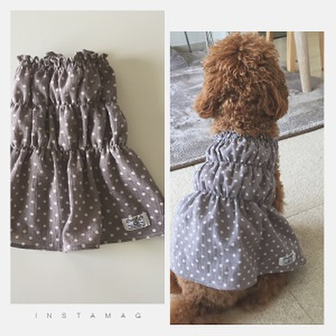 犬服型紙 水玉のワンピース dog-8