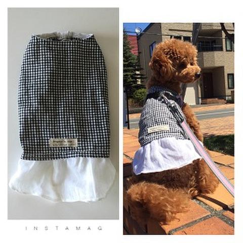 犬服型紙 チェックとフリルのワンピース dog-7