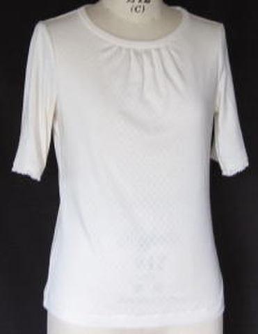 OCT-34オーガニック五分袖フリルレースTシャツ