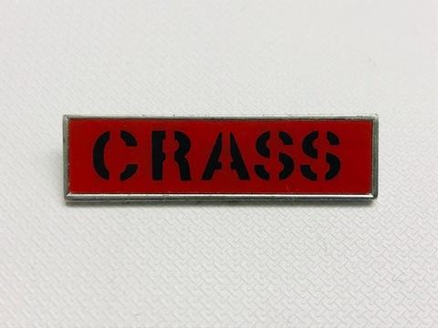 80'sメタルバッジCRASS/黒ロゴ赤ベース