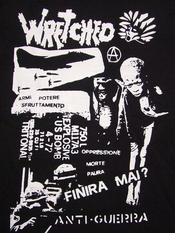 Tシャツwreched /anti-guerra