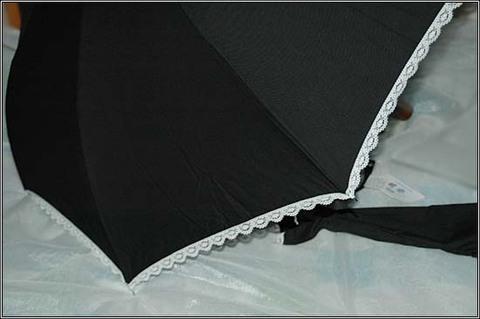 晴雨兼用日傘 白レース付きブラック