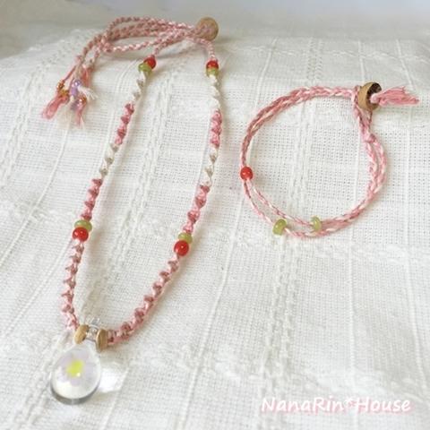 (ピンク)へンプネックレス&ブレスレット