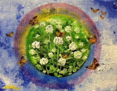 白詰草と蝶