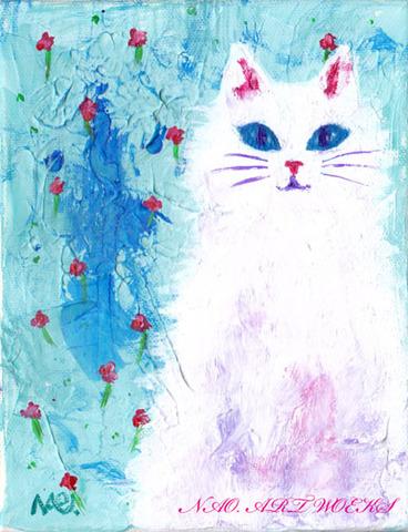 原画『小さな花と白猫』