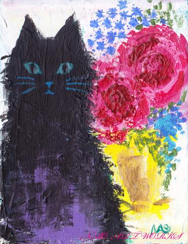 原画『薔薇と黒猫』