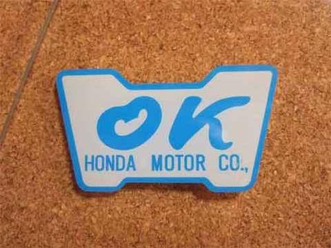 『OK』HONDA MOTORステッカー(青)