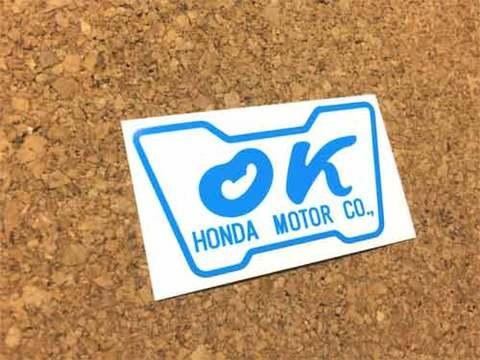 『OK』HONDA MOTORステッカー(青)外貼り