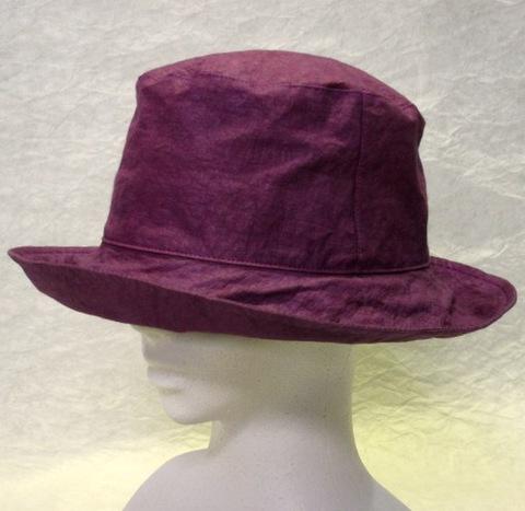 柿渋染 ダウン帽子・赤紫