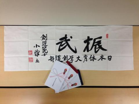 日本体育大学剣道部「振武」手ぬぐい(エンジ・紺・白)