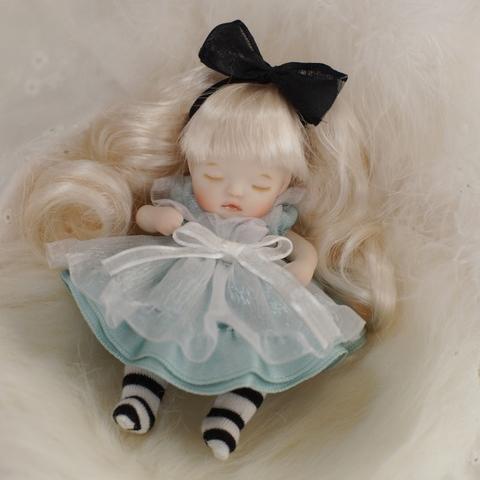 【草苅尚代作】4インチベビーアリス(10cm)眠り目/ブルードレス