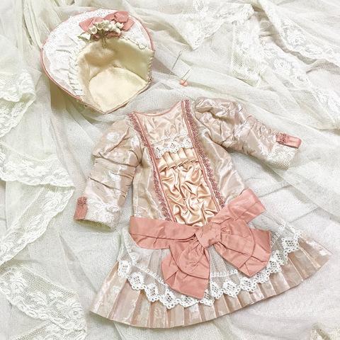 【48㎝ドールサイズ】ピンクシルクドレス&ボネ