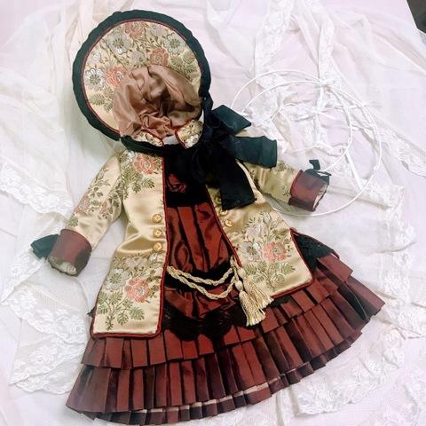 【62cmドールサイズ】アンティークシルクのドレス&ボネ