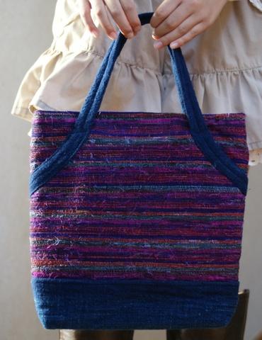 井関古都路 「シルク裂織アフリカ藍木綿バッグ」