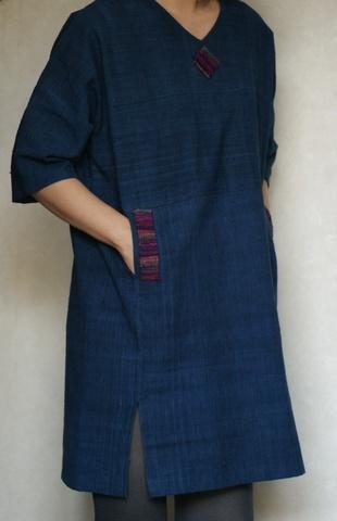 井関古都路 「藍染綿7分袖ワンピース」