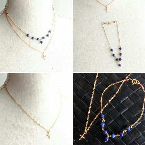 ★【キット】天然石ラピスラズリの変身ネックレス