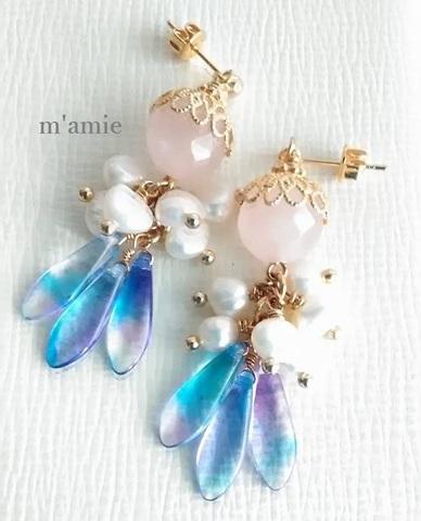 SWEET MEMORIES ~上質ローズクォーツのイヤリング/ピアス~