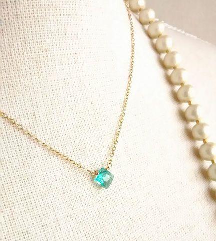 いつでも夢を 天然石愛され一粒ネックレス ブルーアパタイト