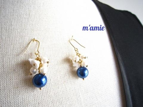 ★白小花のプチっとかわいい♡パールのバイカラーイヤリング/ピアス