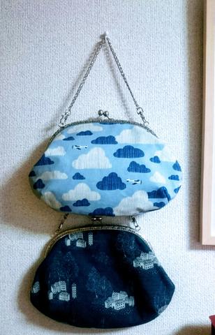 ガマ口バッグ「くもり空 大」イベントにて展示販売