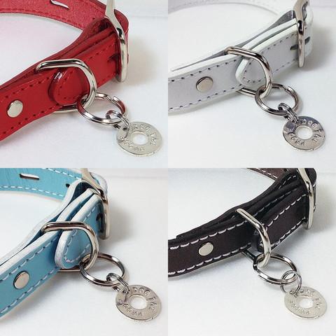 犬・猫-首輪用シルバー迷子札(フック2タイプ)・刻印ハンドメイド/コインサークル迷子札(厚さ1ミリタイプ)