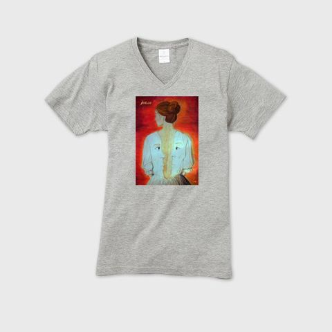 Total - Total II メンズVネックTシャツ ヘザーグレー