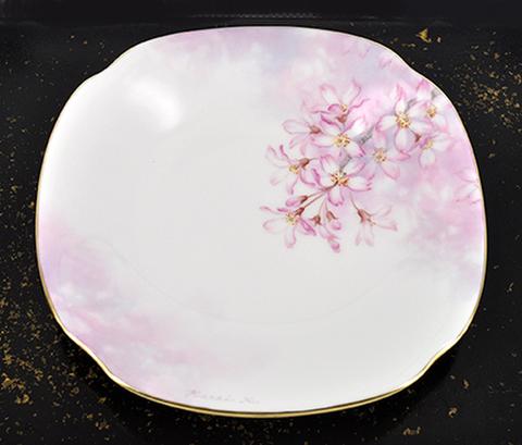 垂れ桜の角皿(No.3右しだれ)
