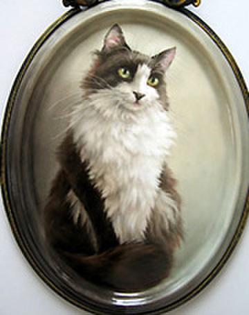 絵付テキストNo.20【モノトーンの猫】写真を元にペットを描く